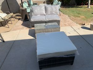 NEW Gray 4 piece wicker set with cushions for Sale in Glendale, AZ