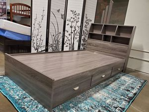 FULL SIZE Storage Bed Frame with Bookcase Headboard for Sale in Santa Ana, CA