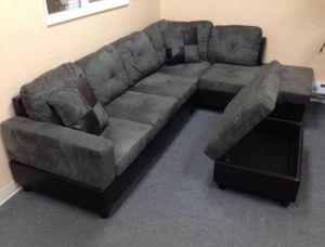 Gray sectional couch NEW with ottoman and two free pillows DELIVERY all areas for Sale in Vancouver, WA