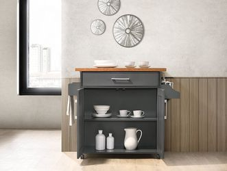 Kitchen Island with Spice Rack, Towel Rack & Drawer, Grey with Oak Top for Sale in Modesto,  CA