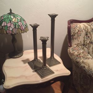 Three Vintage Stainless Steel Candleholders for Sale in Fort Lauderdale, FL