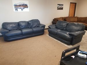 Blue Leather Couch and Loveseat Set for Sale in Denver, CO