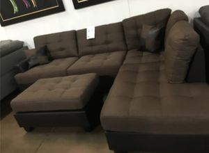 Brand New Brown Linen Sectional Sofa Couch + Ottoman for Sale in Chevy Chase, MD