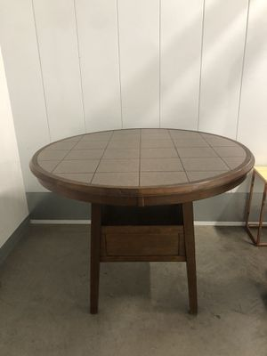 """48"""" round tile top counter height wood table for Sale in San Diego, CA"""
