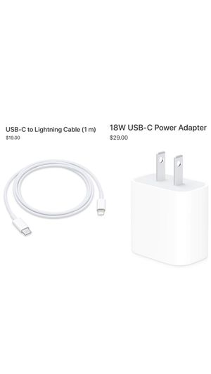 Apple USB-C Lightning Cable and USB-C Power Adapter (Read Description) for Sale in Gaithersburg, MD