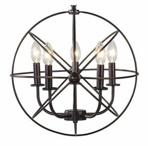 BRAND NEW IN BOX Industrial 5 Light Hanging Farmhouse Orb Ceiling Chandelier Fixture Bronze for Sale in Brea, CA