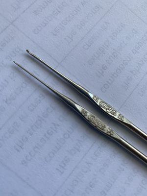 Pair of fine vintage metal boys crochet hooks tool for hand crafting extra fine lace work * number 11 and 14 for Sale in Orange, CA