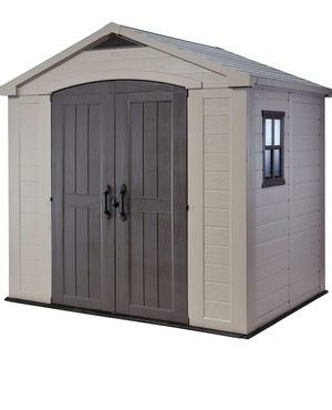 Keter Factor 8x6 Large Resin Outdoor Shed for Patio Furniture, Lawn Mower, and Bike Storage, Taupe/Brown for Sale in Kent, WA