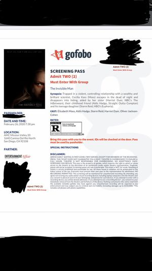 Must Sell Hard Copy Advance Screeninng The Invisible Man Free Early Movie for Sale in Santee, CA