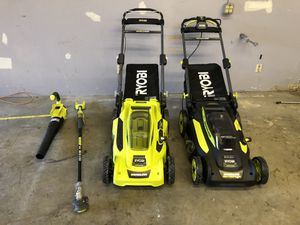 Lawn mower,blower,weed wacker 40V cordless Ryobi like new for Sale in San Diego, CA