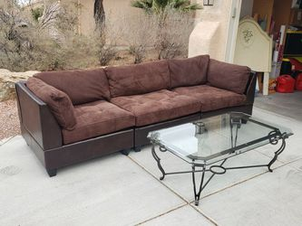 Micro Fiber Couch & Glass Coffee Table - *MINT* for Sale in Las Vegas,  NV