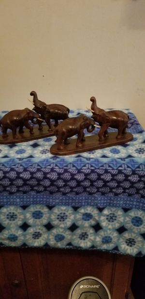 Beautifully Matched Pair Of Wood Carved Elephant Statues for Sale in Lacey, WA