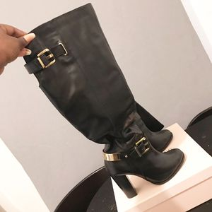 Black With Gold Belting Aldo Knee Boots. Worn only ONCE! EXCELLENT CONDITION! SIZE 6.5 for Sale in Brooklyn, NY