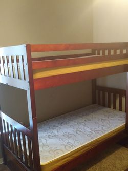 Double Twin Bunk Bed ❤️ Burgundy Wood Very Good Condition 😍 And Sanitized👍 Even Better Comes With 2 Like New Mattress! i for Sale in Kissimmee,  FL