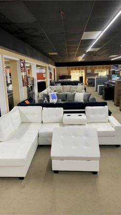 White Pablo Sectional And Ottoman In Stock for Sale in Washington,  DC
