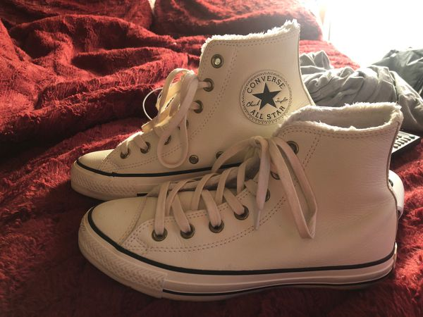 Converse leather high tops with fur inside