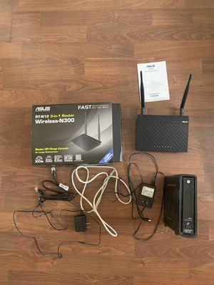 Asus RT-N12 Router and Motorola SBG 6580 Modum Surfboard for Sale in Los Angeles, CA