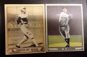 1940 Shoeless Joe Jackson, Joe Di Maggio Rookie Cards. Reprints for Sale in Wimauma, FL