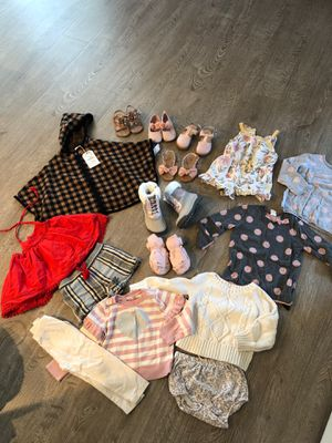 Baby girl bundle size 2t clothes size 8 shoes for Sale in La Habra, CA