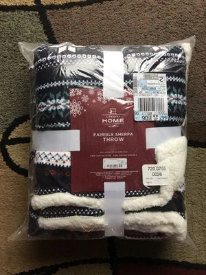 "New JCPenney Home Fairisle Sherpa Throw Blanket - This has never even been taken out of plastic from shipping. It is 50"" x 60"". for Sale in Raleigh, NC"