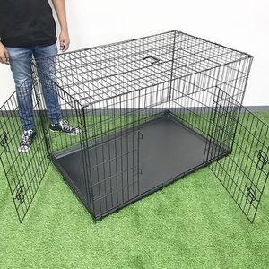 "(New In Box) $65 Folding 48"" Dog Cage 2-Door Pet Crate Kennel w/ Tray 48""x29""x32"" for Sale in La Habra Heights, CA"