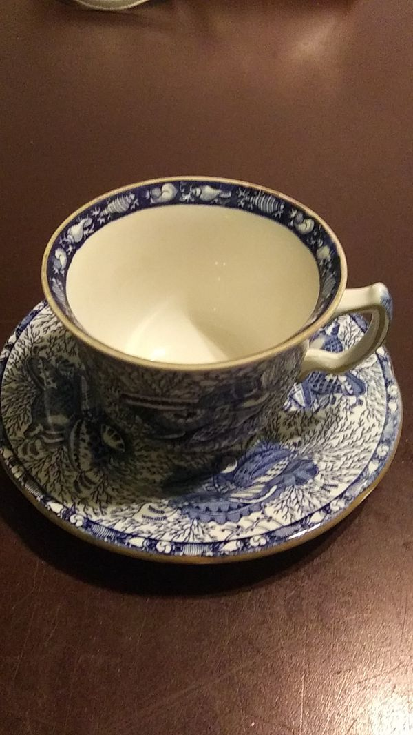 Torquay England blue shell cup n saucer