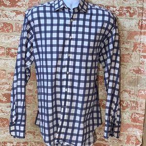 Thomas Dean Designer Mens Dress Shirt Blue White Plaid Large for Sale in Centerton, AR