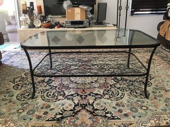 Wrought Iron Coffee Table with Glass Top and Flower Design Mid Shelf for Sale in San Diego,  CA