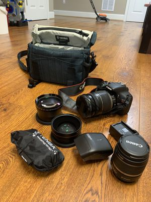 Perfect Canon EOS Rebel T2i set: lenses, case, body for Sale in Avon, CT