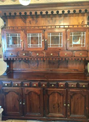 Wood China Closet with stain glass doors for Sale in Staten Island, NY