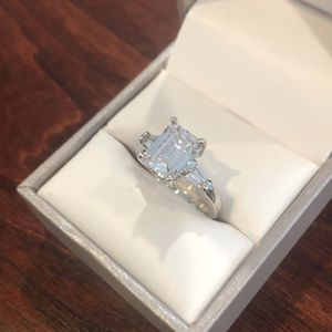 Women 925 Silver Rings Emerald Cut White Sapphire Ring Size 7 for Sale in San Jose, CA