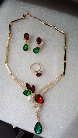 3 pcs set necklace earrings adjustable ring for Sale in Staten Island, NY