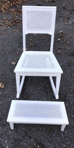 Shabby chic caned solid wood white rocker chair and footstool for Sale in Rockville, MD
