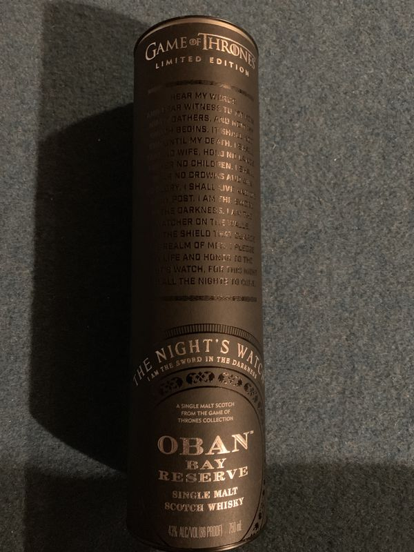 Oban Bay Reserve The Night's Watch : Game of Thrones Edition