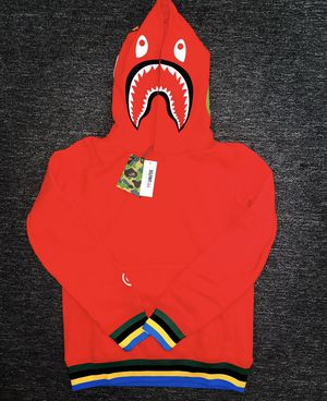 Bape Shark Line Rib Pullover Hoodie Red for Sale in Boston, MA