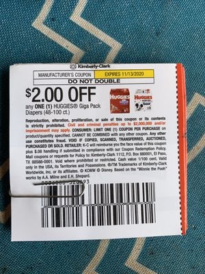 30 Huggies coupons, $2 off one giga pack diapers, exp 11/13/2020 for Sale in Plantation, FL