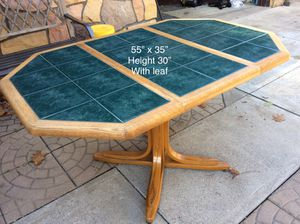 Dinaire Kitchen or Dining Room Table .... Solid Oak wood and green tile for Sale in Baden, PA