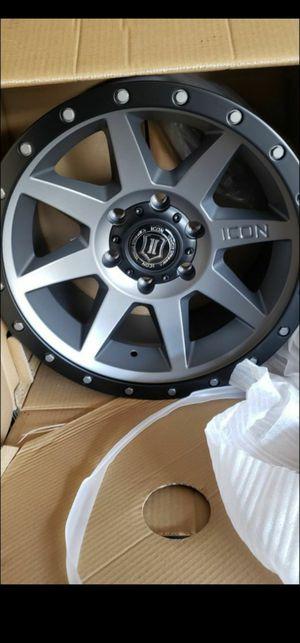 4 New in box Icon Rebound Wheels/Rims 17 inch 17x8.5 Titanium Satin Matte Black 6x120 Chevy Colorado GMC Canyon 2015-2020 for Sale in Moreno Valley, CA