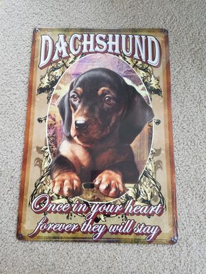 Dachshund wiener dog for sale  heart metal sign for Sale