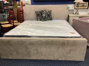 Beige Upholstered King Bed Frame for Sale in Virginia Beach, VA