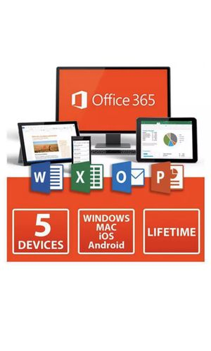 MICROSOFT OFFICE 365 PRO PLUS ACCOUNT LIFETIME 5TB 5 DEVICES WINDOWS MOBILE MAC for Sale in Brooklyn, NY