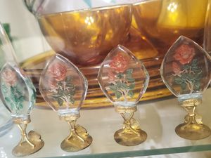 Antique INTAGLIO Czech GLASS Place Card Menu Holders for Sale in Plainfield, IL