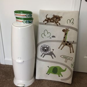 Diaper pail + 2 bags refill + changing pad with cover for Sale in Virginia Beach, VA