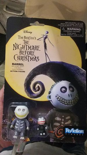 ReAction Figures ( Tim Burton's The Nightmare Before Christmas barrel w/ scary teddy action figures for Sale in Newnan, GA