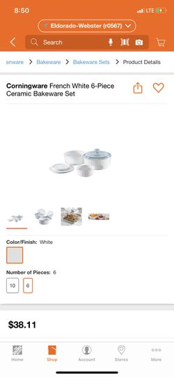 Corningware French white 6-pieces ceramic bakeware for Sale in Houston,  TX