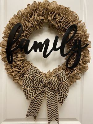 Family Burlap Rustic Wreath for Sale in Raleigh, NC