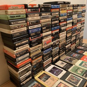HUGE Lot of 8 Track Tapes 200+ Mostly Classic Rock With 5 Leather Carrying Cases! cassette records lp vinyl album music zeppelin sabbath for Sale in Anaheim, CA