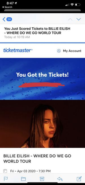 Billie Eilish Tickets- Where Do We go Tour for Sale in Downey, CA
