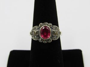 Vintage Size 7.25 Sterling Silver Rustic Ruby & Marcasite Band Ring Wedding Engagement Anniversary Cute Elegant Statement Everyday Special for Sale in Everett, WA