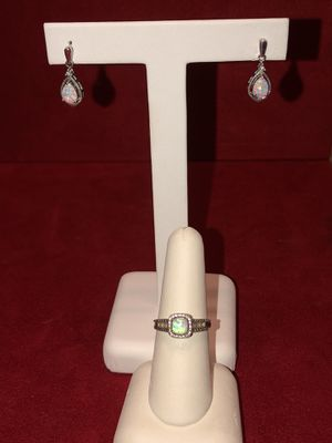 Genuine opal, diamond, and sterling silver ring and earrings set for Sale in Dallas, TX